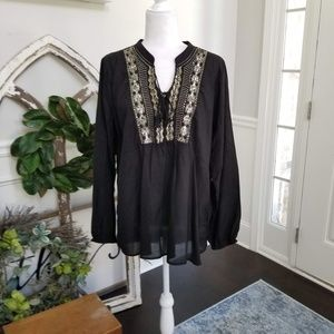 Black Hi-Low Tunic with Embellished Boadice Large